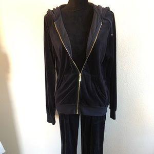 Juicy Couture navy blue velour Tracksuit Sz M/S